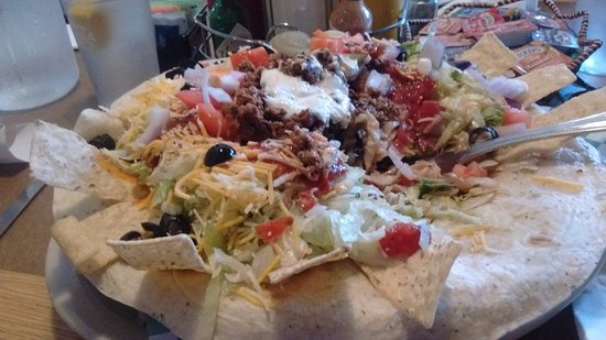Condon, OR: That is the monster huge Taco Salad I ordered and ate on.