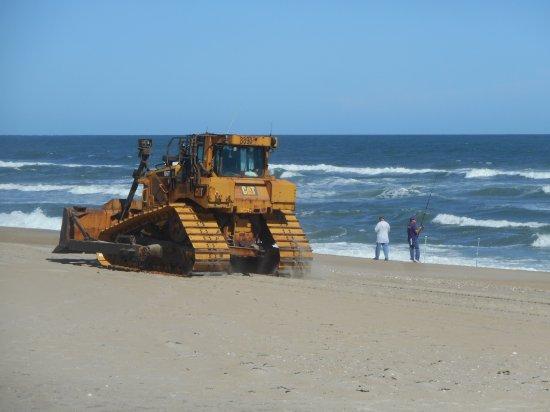 Hatteras Island, NC: Bulldozer on Pea Island near the Bonner Bridge