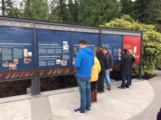 Snoqualmie, WA: the signage explaining electricity generation and falls