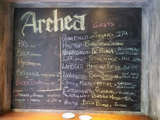 Archea Brewery: List of Beers on Draft
