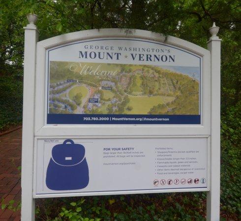 George Washington's Mount Vernon: il cartello con indicazione