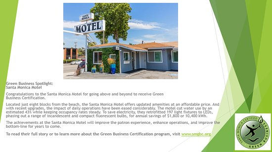 Congratulations to the Santa Monica Motel for receiving  Green Business Certification