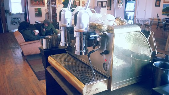 Bancroft, Canada: Original hand-pumped Italian espresso machine... beauty!