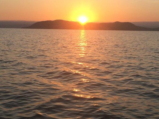 Baringo District, Kenya: Looking across the lake at the islands at sunrise