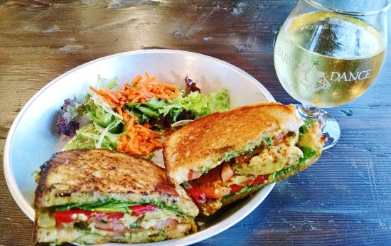 Waterbury Center, VT: I needed a fork to keep all the eggplant in the panini. The hard cider was refreshing.