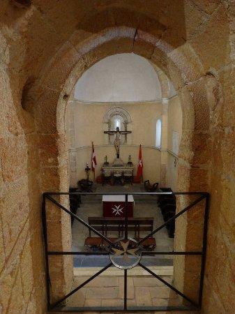 "Iglesia de la Vera Cruz: View from upper chapter in the ""pillar"" at main altar."
