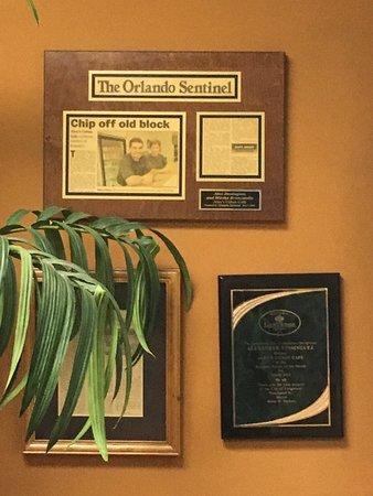 Longwood, FL: Awards on wall.