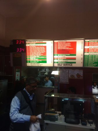 Nizam's Kathi Kabab: Menu laid out on the wall above the Billing Counter: Nizam's CP