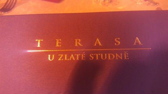Terasa U Zlaté studně: The menu cover