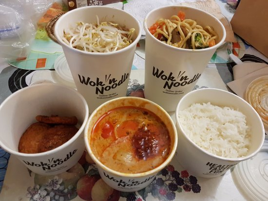 Wok'n Noodle!: Clockwise from left; Fish cakes, Pad Thai, Duck Noodles and Massaman lamb curry