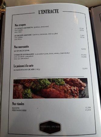 Limay, France : Le Menu du Restaurant L'Entracte