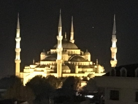 Adamar Hotel: View from the rooftop terrace at night (zoomed)
