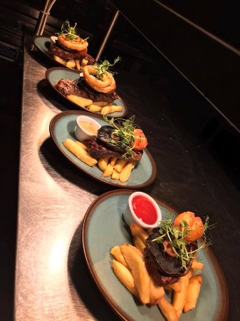 Mawdesley, UK: Flat Iron, Rump & Sirloins served up on our surf n turf night.