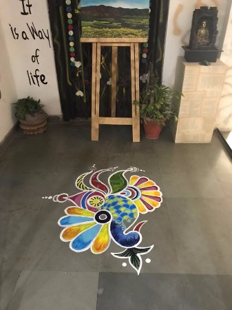 Studio Pics Floor Painting Using Rangoli Colors Picture Of The