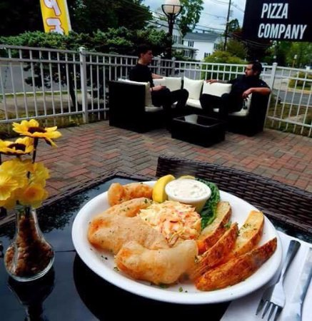 Dayton, NJ: Fish & Chips on the patio