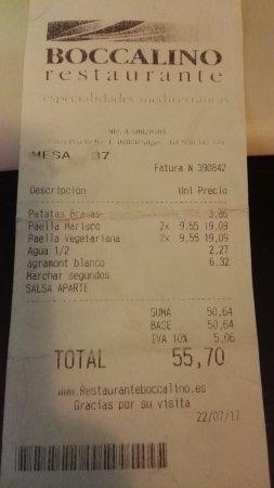 Restaurante Boccalino: Tiquet