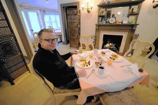 New Church, VA: Husband enjoying the breakfast