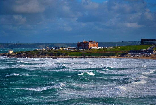 The Headland Hotel & Spa - Newquay: Hotel viewed across Fistral Bay