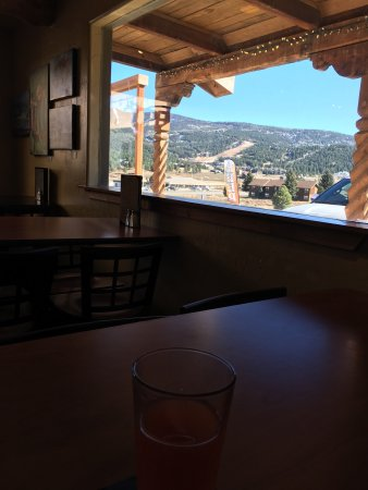 "Angel Fire, NM: Afternoon ""Michelada"" - Palisades Pilsner & Clamato 5% with a ski Mtn view!"