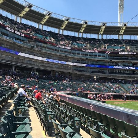 Progressive Field: view of Progressive's Press Box, a light pole and seating areas behind home plate.