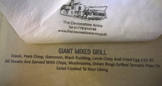 Alfreton, UK: Menu entry