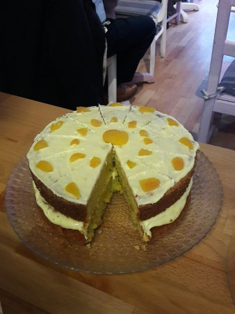 Dorking, UK: Almond and Apricot cake, gluten free.