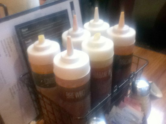 Dodgeville, WI: The different sauces on the table.