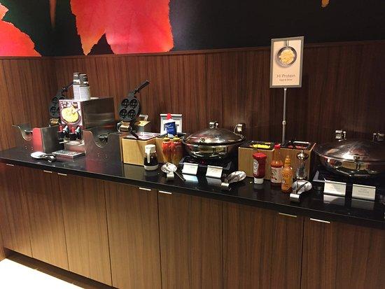 Dupont, WA: hot breakfast selection.