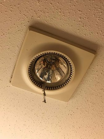 Mission, Canada: Thread of dust hanging on the light fixture
