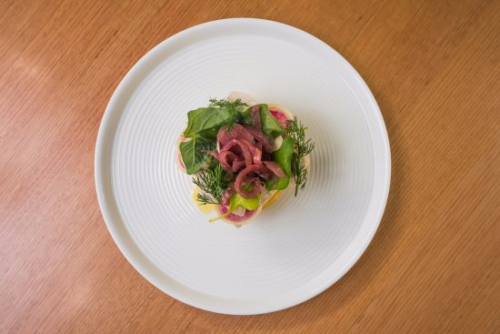 The Stag Hotel: Poached Chicken Breast with truffle polenta, watermelon radish and warrigal greens