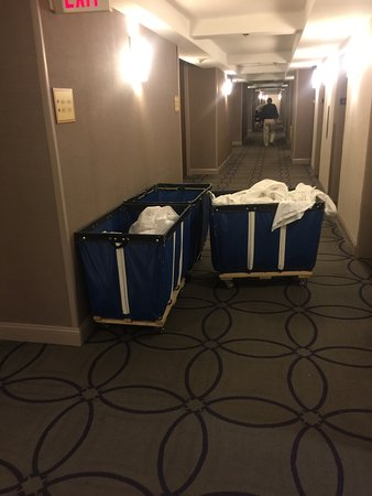 Hilton Newark Penn Station: hotel carts left to just block everyone from rooms/elevator/ice machine