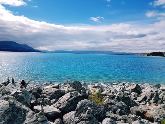 Canterbury Region, New Zealand: The glacial blue colour of the lake