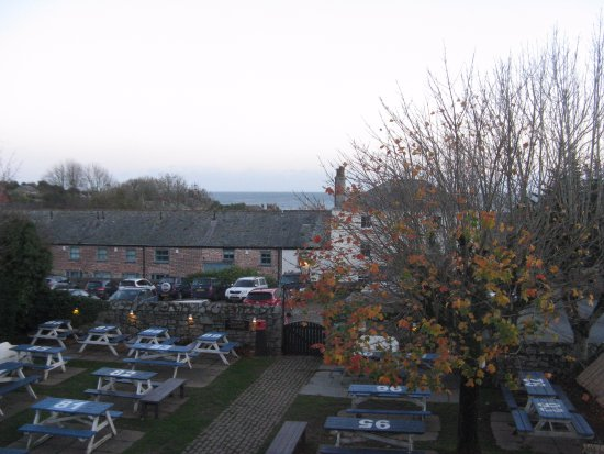 Rashleigh Arms: The view over the car park and out to sea, from Topsails