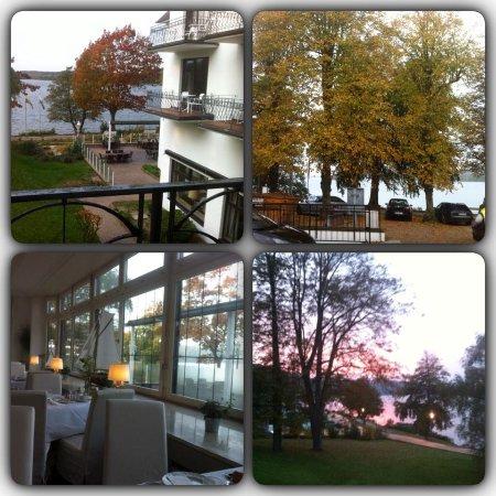 Bad Malente, Deutschland: Udsigt fra balkonen, restauranten og efterårsfarver udenfor hotellet