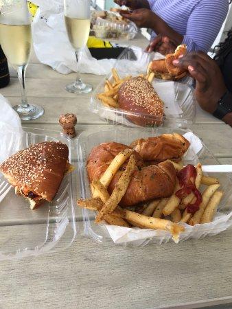 Josh's Deli: Soft-shell crab sandwich and fries