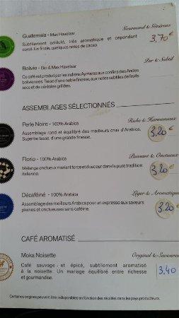 Orry-la-Ville, Frankrig: Carte des cafés.