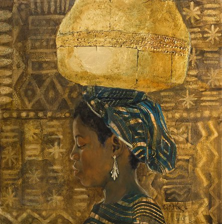 Ojai, CA: Dogon Pot 30 x 30 Oil and Gold Leaf on Board by Leslie Clark