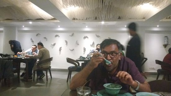 Green Park - Visakhapatnam: Me, enjoying some soup.