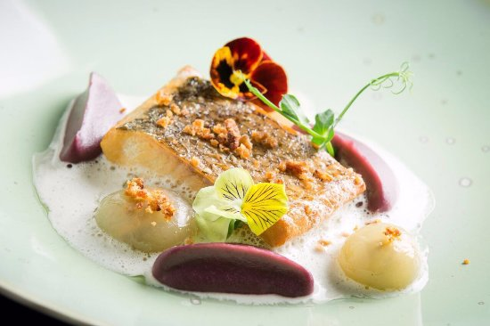 GASTRONOMIC SET FROM CHEF.Smoked chir with red cabbage puree, mussel sauce and yellow violet pet (289920496)