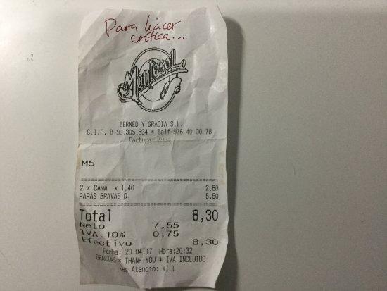Bar Montesol: El ticket es de abril de 2017. CARO, para el servicio que dan