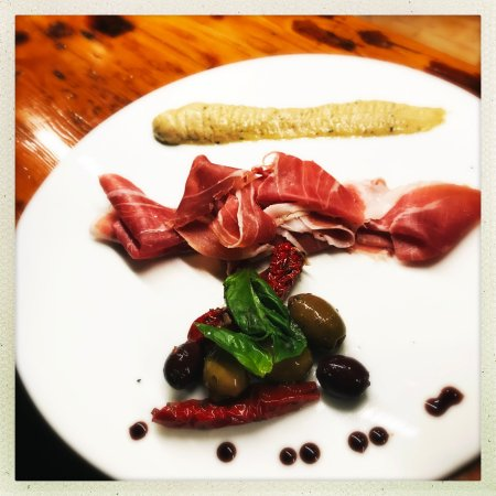 "Needham, MA: One of Spiga's delicious ""cicchetti,"" or small plates: Proscuitto Plate."