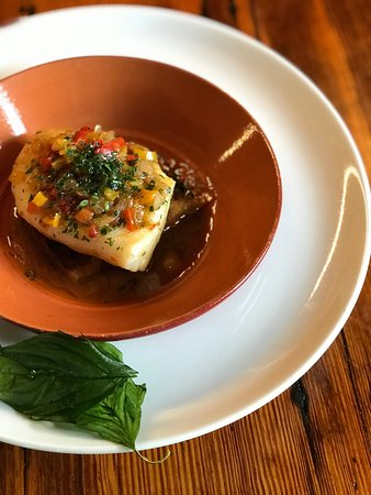 "Needham, MA: One of eight ""guazzetti"" on the lunch and dinner menus: House-Cured Cod"