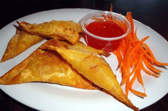Essex, VT: Golden Triangles are Thai version of Crab Rangoons.  Delicious.