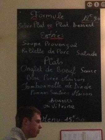Saint Maurice, Francia: menu du jour