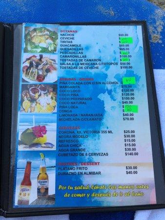 Gloria en El Mar Restaurante: Menu