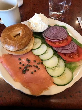 Lake Zurich, IL: Lox and bagel platter.
