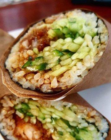 Nottingham, MD: Sushi burrito with shrimp tempera, avocado, cucumber, and sauce