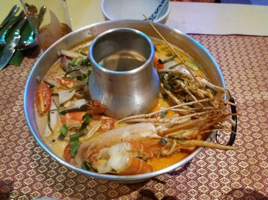 Middlewich, UK: Sweet, succulent river prawns in Pom's fragrant Thai soup
