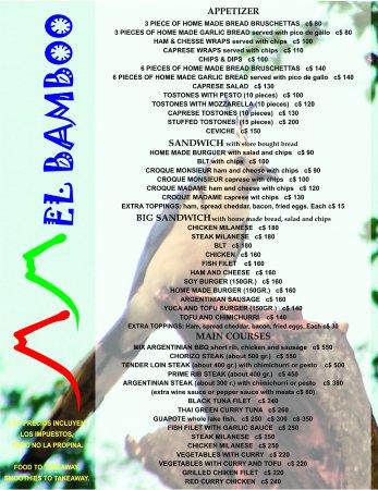 Balgue, Nicaragua: english menu