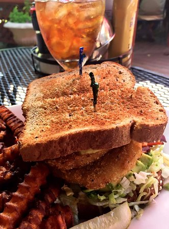Cashiers, NC: Fried green tomato sandwich with Jennifer Broome